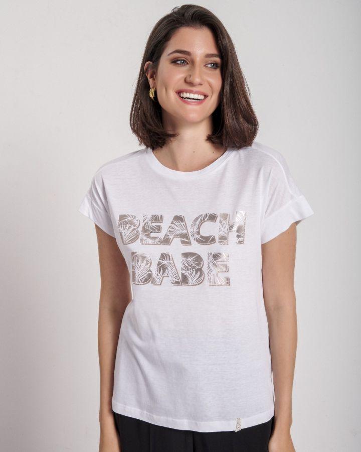 "T-SHIRT ΣΤΑΜΠΑ ""BEACH"" WHITE"
